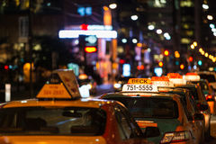 Taxi queue in Toronto at night Royalty Free Stock Photo