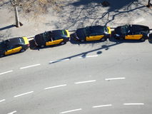 Taxi queue view from above. Aerial view of a taxi queue in Barcelona Stock Photography