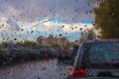Taxi in the rain Royalty Free Stock Photos