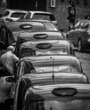 Taxi rank in black and white Stock Image