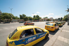 Taxi rank in the center of Varna Royalty Free Stock Image