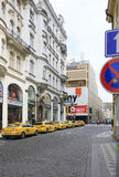 Taxi rank in historical centre of Prague. Stock Images