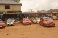Taxi rank in Kwabenya royalty free stock photos