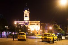 Taxi rank by night Stock Photo