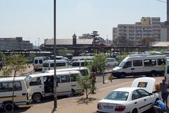 Taxi rank for shared vans in Johannesburg stock photography