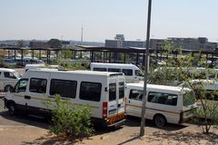 Taxi rank for shared vans in Johannesburg stock photo