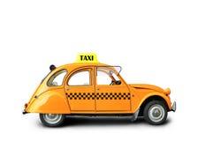 Taxi. Retro car orange color on the white background Stock Photos