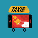 Taxi. Retro grunge poster with smartphone. Mobile app for booking taxi. Vector illustration. Stock Images