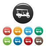 Taxi rickshaw icons set color royalty free illustration