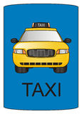Taxi and road sign Royalty Free Stock Photography