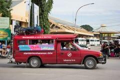 Taxi rosso Chiang Mai, per il passeggero dall'autostazione Fotografia Stock