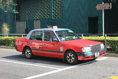 Taxi rosso a Hong Kong Immagini Stock