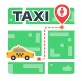 Taxi route on the map from point to point. waiting for the car. vector illustration