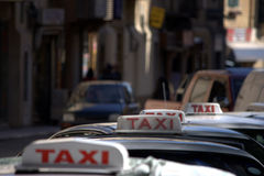 Taxi row Stock Photo