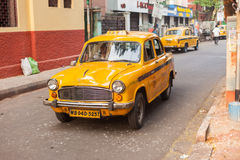 Taxi, rue de Sudder, Kolkata photographie stock