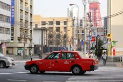 A taxi running on street in Tokyo, Japan Stock Image