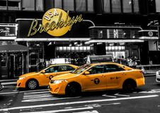Taxi`s Outside the Brooklyn Diner. The Brooklyn Diner in Manhattan, NYC Royalty Free Stock Image
