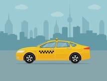 Taxi samochód na miasta tle Zdjęcie Stock