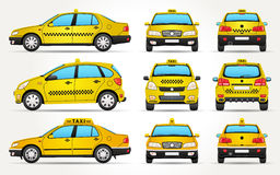 Taxi samochód przód - Tylny widok - strona - ilustracja wektor