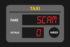 Taxi scam - taxi is cheating with meter. Overcharging and expensive fare for transportartion. Vector illustration stock illustration