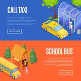 Taxi and school bus station isometric 3D posters. Taxi and school bus waiting station isometric 3D posters. Urban and countryside traffic concepts with transport Royalty Free Stock Photography