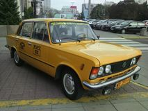 Taxi from serial Zmiennicy FIAT 125p WPT 1313 Stock Images