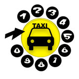 Taxi Service. Elegant emblem for taxi service support telephone with taxi car symbol on yellow disc, numbers and arrow over white background Royalty Free Stock Photos