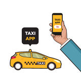 Taxi service app. Hand with smartphone and touchscreen. Taxi car and city skyscrapers. Vector flat illustration. Pop art Stock Image