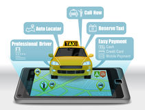 Taxi Service Apps on smartphone royalty free illustration