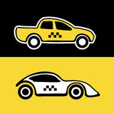 Taxi service background. Black Vector abstract background wit taxi service cars. Round label with text area stock illustration