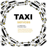 Taxi service background. White Vector abstract background wit taxi service cars. Round label with text area vector illustration