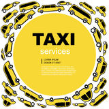Taxi service background. Yellow Vector abstract background wit taxi service cars. Round label with text area vector illustration