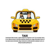 Taxi Service Banner With Driver And Male Passenger In Yellow Car Cab Over Background With Copy Space. Flat Vector Illustration Royalty Free Stock Image