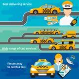 Taxi service banner horizontal set. Urban Royalty Free Stock Images