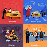 Taxi Service 2x2 Banners Set. Set of 2x2 banners of taxi service system including dispatchers moto taxi and ordinary taxi flat vector illustration Stock Images