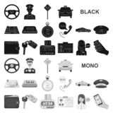 Taxi service black icons in set collection for design. Taxi driver and transport vector symbol stock web illustration. royalty free illustration