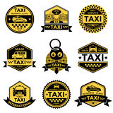 Taxi Service Black Yellow Emblems Royalty Free Stock Photography