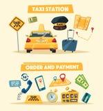 Taxi service. Cartoon vector illustration royalty free illustration