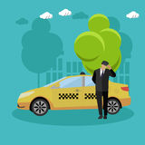Taxi service company concept vector banner. People catch cab on a street. Stock Images