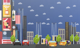 Taxi service company concept vector banner. People catch cab on a street Stock Image