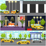 Taxi service company concept vector banner. Yellow cabs on a street. Royalty Free Stock Photos