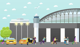 Taxi service company vector concept banner. People catch yellow cab in airport. Royalty Free Stock Photography