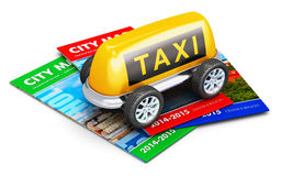 Taxi service concept. Creative abstract travel, tourism sightseeing and taxi service business transportation concept: toy car made from yellow taxi sign with Stock Photos