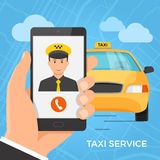 Taxi service concept. Hand holding smartphone with cheerful taxi driver on the screen. Vector illustration Stock Photos
