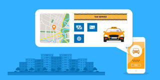 Taxi service concept. Infographic template with taxi car on mobile phone screen, icons and town street on background, taxi service concept, flat style Stock Photography