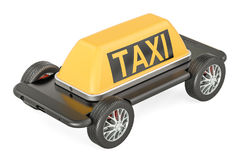 Taxi service concept, phone with wheels. 3D rendering. Isolated on white background Stock Photography