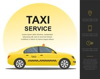 Taxi service concept. Vector banner, poster or flyer background template. stock illustration