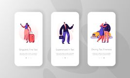 Taxi Service Concept for Website or Web Page. People with Luggage Call Car with Driver by Smartphone Mobile App Page. Yellow Cab Waiting Passenger Onboard vector illustration