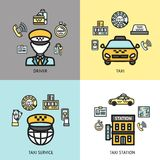 Taxi service design concept flat. Taxi station 24h available call service 4 flat icons composition with professional driver abstract isolated vector illustration Stock Photos