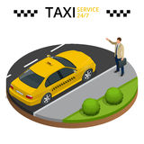 Taxi service 24h concept. Young man raising her arm to call a taxi. Flat 3d vector isometric illustration. Royalty Free Stock Photos
